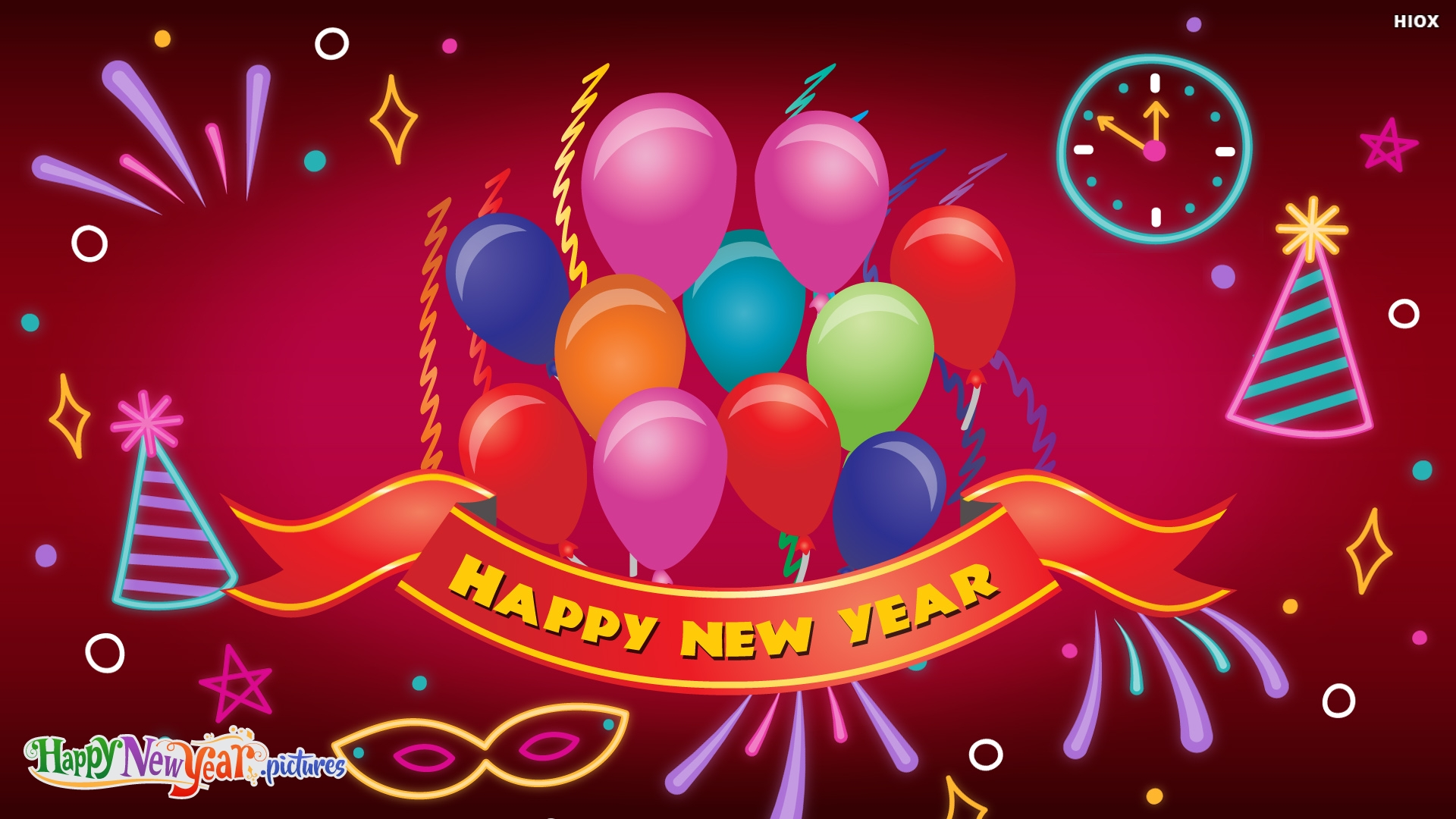 Colorful Happy New Year Greetings To All