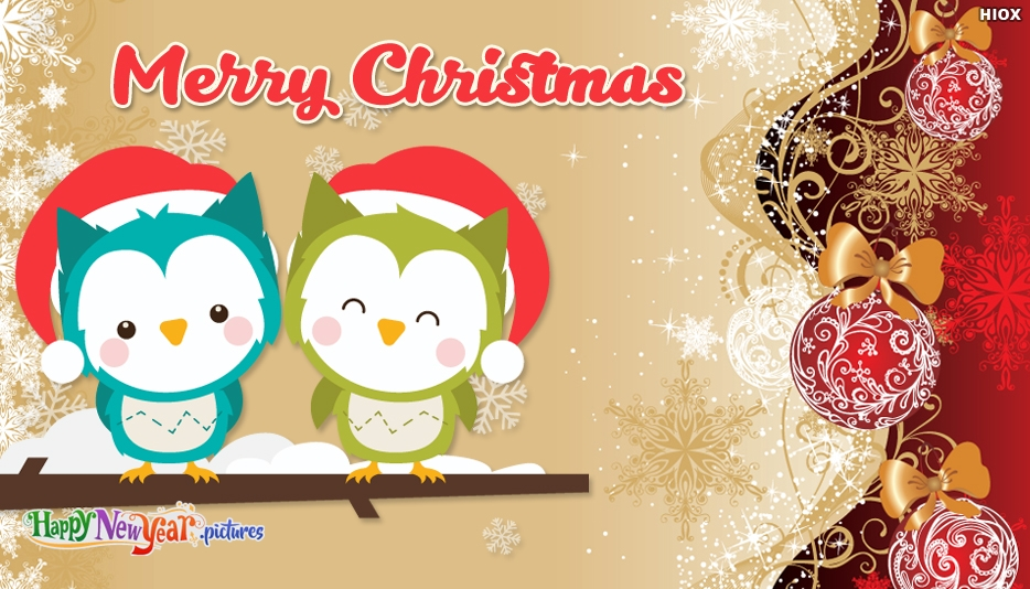 Owl Christmas Card - Merry Christmas and Happy New Year Greetings