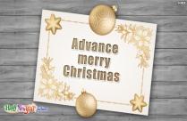 Advance Merry Christmas Greetings