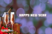 Happy New Year Wishes with Drink Image