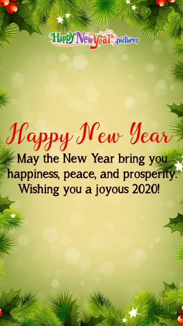 May The New Year Bring You happiness, Peace, and Prosperity. Wishing You A Joyous 2020!