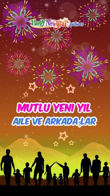 Mutlu Yeni Yıl Aile Ve Arkadaşlar
